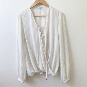 June & Hudson ivory wrap blouse.
